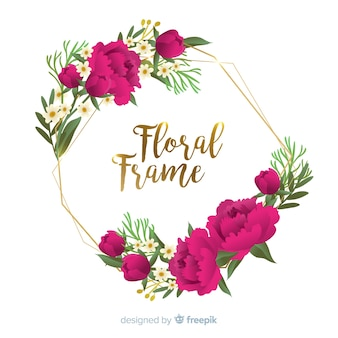 Fundo de quadro de flor desenhada de mão
