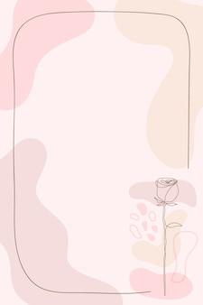 Fundo de quadro de flor rosa em vetor de estilo feminino