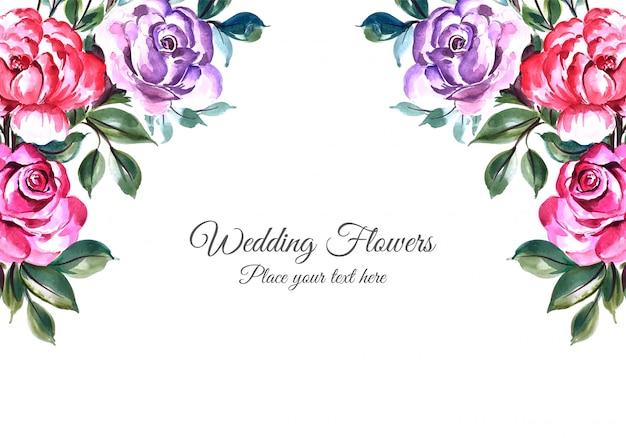 Fundo de quadro de flores decorativas de casamento