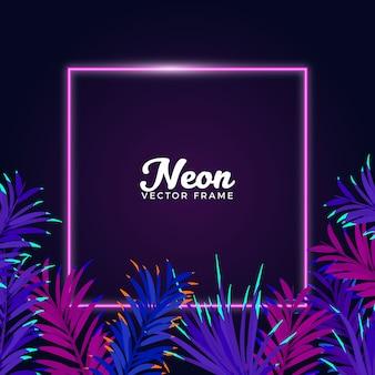 Fundo de quadro de folhas de néon