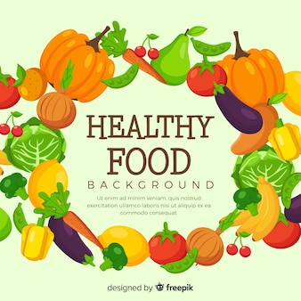 Fundo de quadro de frutas e legumes mão desenhada