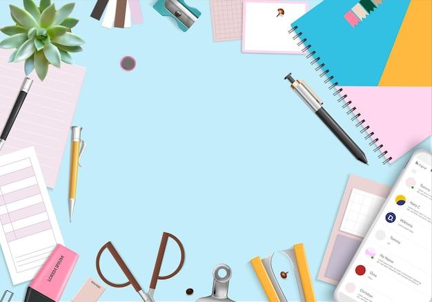 Fundo de quadro de itens de escritório com caneta organizadora e planta de casa realista