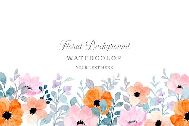 Fundo de quadro de jardim de flores de laranjeira com aquarela