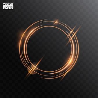 Fundo de quadro de luz de círculo de ouro abstrato