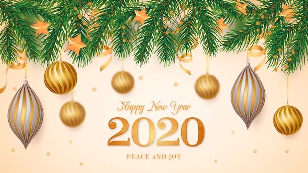 Fundo de quadro de natal com bolas de ouro realistas