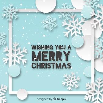 Fundo de quadro de Natal com flocos de neve