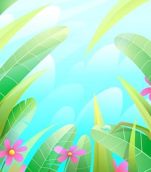 Fundo de quadro de natureza verão ou primavera com folhas de grama e flores sobre o céu azul.