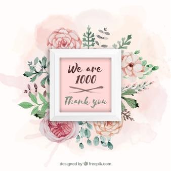 Fundo de quadro de seguidor de 1k com flores de aguarela
