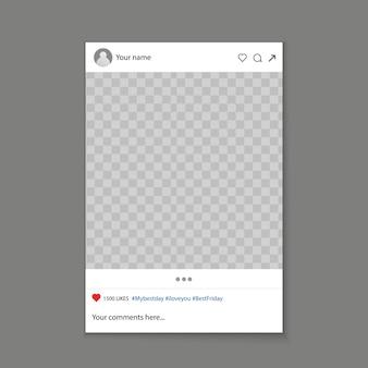 Fundo de quadro de suporte de foto de mídia social.