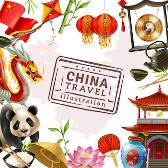 Fundo de quadro de viagens de china