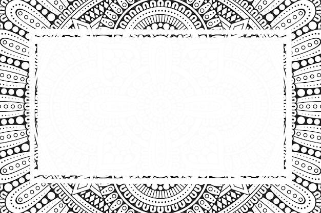 Fundo de quadro em branco com estilo de ornamento de mandala