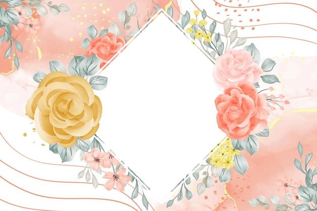 Fundo de quadro floral com espaço em branco