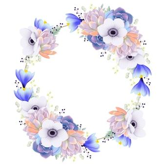 Fundo de quadro floral com flor anêmona e suculenta