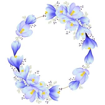 Fundo de quadro floral com flores de açafrão
