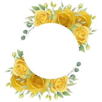 Fundo de quadro floral com rosas amarelas