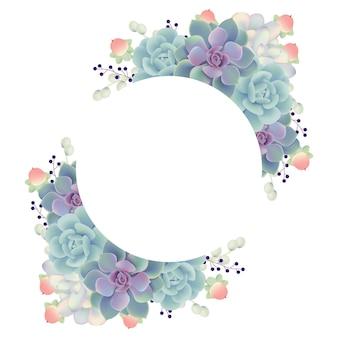 Fundo de quadro floral com suculentas