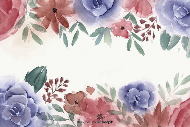 Fundo de quadro floral em aquarela