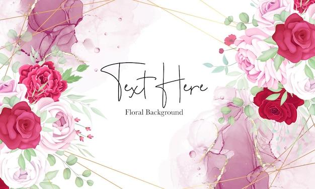 Fundo de quadro floral vermelho e rosa lindo com tinta alcoólica elegante