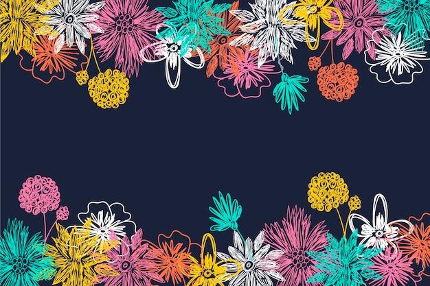 Fundo de quadro-negro com flores de mão desenhada