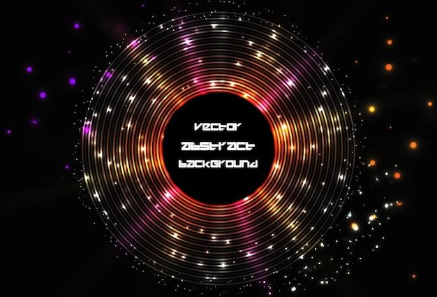 Fundo de quadro redondo de disco de brilho abstrato. brilha na linha circular. desenho vetorial futurista do espaço