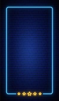 Fundo de quadro vertical de néon na parede de tijolo.