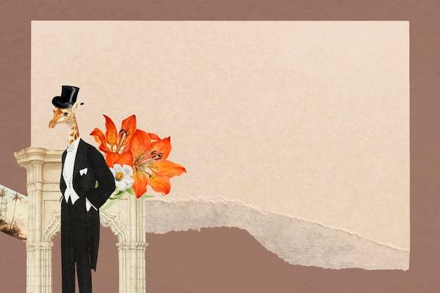 Fundo de quadro vintage colagem de papel, ilustração vetorial