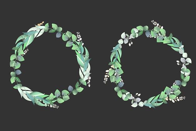 Fundo de quadros florais de grinalda botânica
