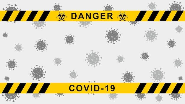Fundo de quarentena de vetor banner de aviso de coronavírus com listras pretas e amarelas