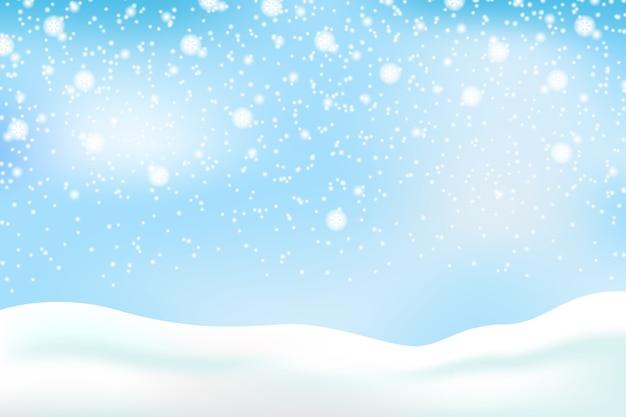 Fundo de queda de neve com céu