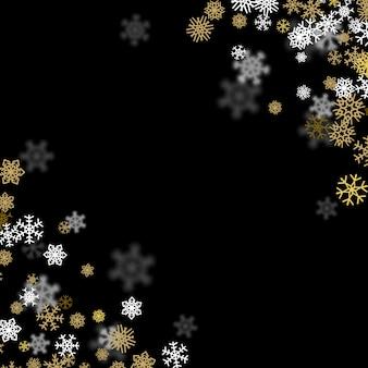 Fundo de queda de neve com flocos de neve dourados turva no escuro