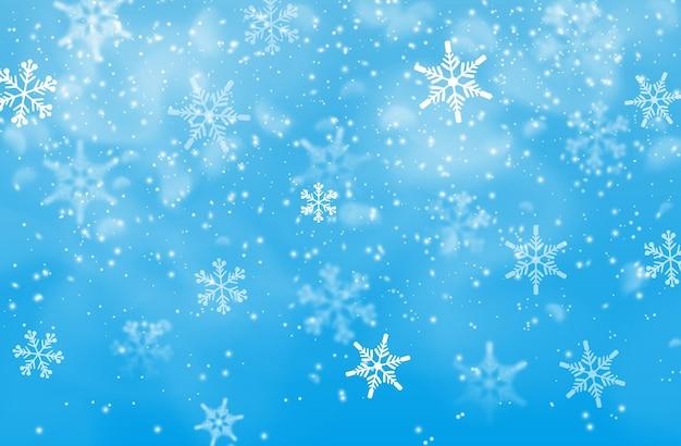 Fundo de queda de neve de férias de inverno com céu azul e flocos de neve. cenário de convite de férias de feliz natal e feliz ano novo, papel de parede de inverno com vetor de neve caindo