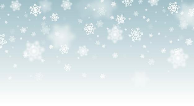 Fundo de queda de neve. queda de neve mágica da véspera de natal do vetor. flocos de neve de glitter branco caindo.