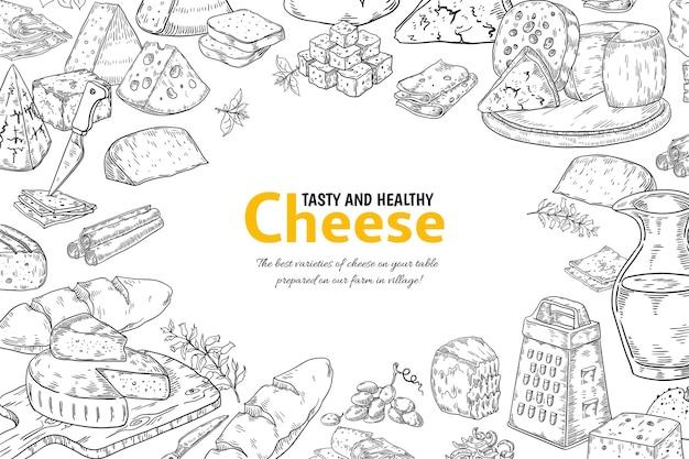 Fundo de queijo desenhado à mão