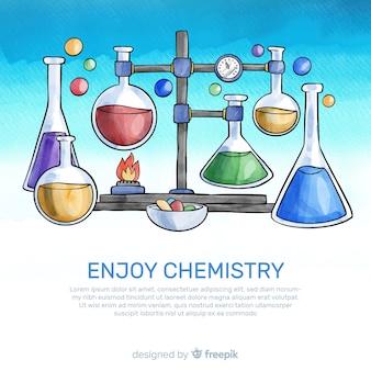 Fundo de química em aquarela