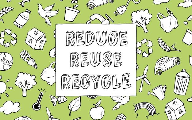 Fundo de rabiscos ecológicos com mensagem