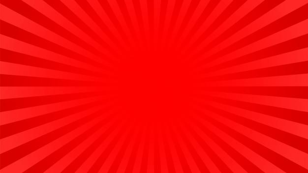 Fundo de raios vermelho brilhante: quadrinhos, estilo pop art.