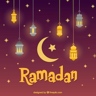 Fundo de Ramadã com lâmpadas diferentes