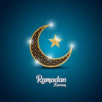 Fundo de ramadã com lua crescente dourada e estrela