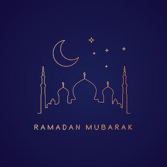 Fundo de ramadã com mesquita em monolines de ouro