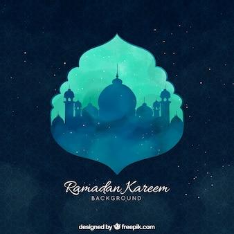 Fundo de ramadã com mesquita na mão desenhada estilo