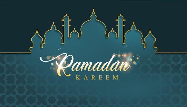 Fundo de ramadã com moldura de mesquita
