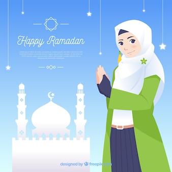 Fundo de ramadã com pessoas rezando