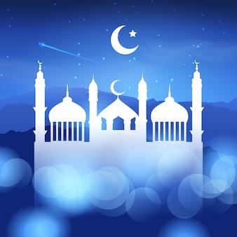 Fundo de ramadã com silhueta de mesquita