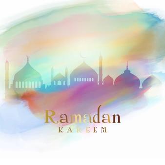 Fundo de ramadã com silhuetas de mesquita