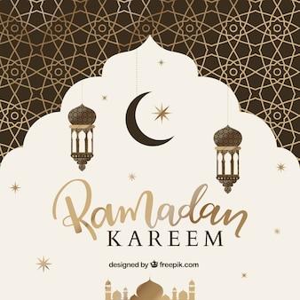 Fundo, de, ramadán, com, ouro, padrão