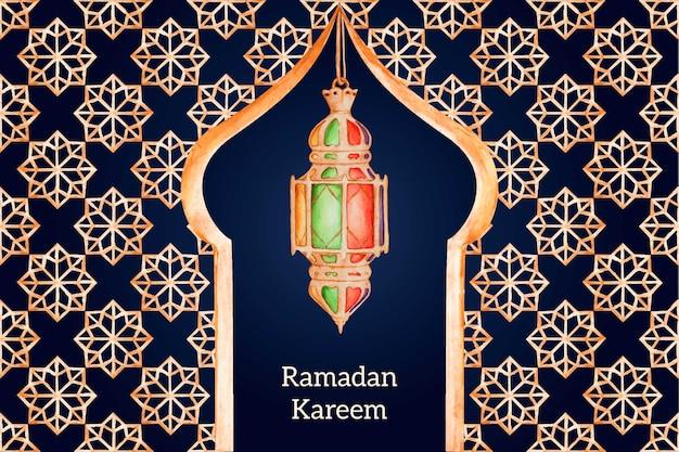 Fundo de ramadan em aquarela