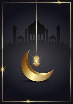 Fundo de ramadan kareem com crescente ouro e lanterna