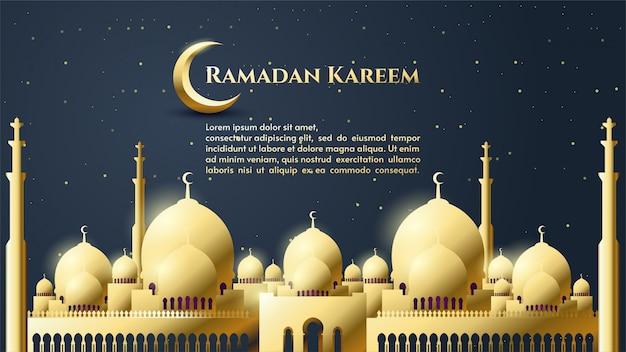 Fundo de ramadan kareem com ilustração da mesquita de ouro com escrita de ouro.