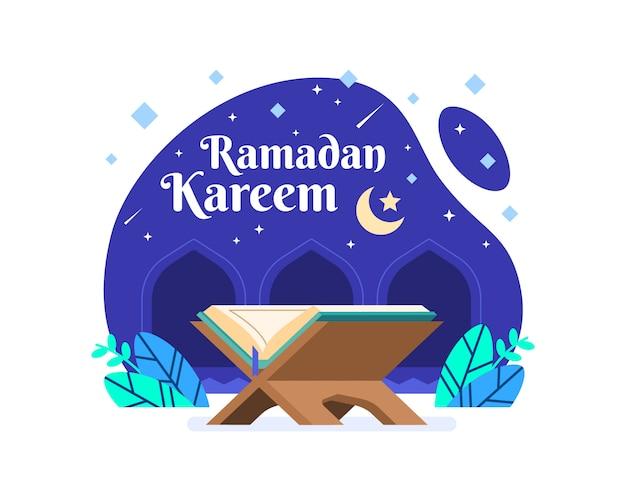 Fundo de ramadan kareem com ilustração do alcorão