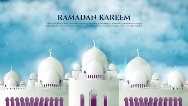 Fundo de ramadan kareem com ilustrações da mesquita branca pela manhã.